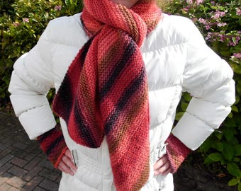 Lava diagonally striped scarf, 100% wool, shades of red, orange, beige and dark grey, beautiful on its own or as part of a set