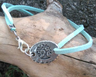 Mint or pink suede and tree of life Locket Bracelet