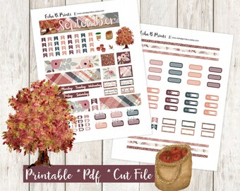 B6 size Fall Printable Planner Stickers/Travelers Notebook/Monthly Kit/Annie Plans Printable/Fall September Glam Apple Pie Leaf Tree Flowers