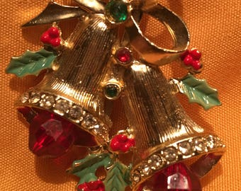 Festive Vintage Christmas Silver Bells Brooch with Ruby Plastic Bells and Holly Leaves. Book Piece