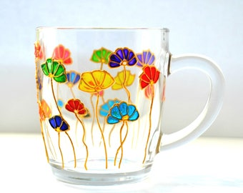 Mug flowers. Floral Mug. Hand painted. Coffee Mug. Unique coffee Mug. Custom Coffee Mug. Rustic Mug. Custom Flower Mug. A gift for the wife