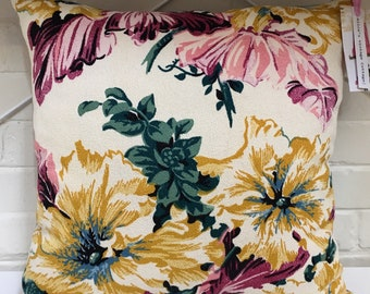 Vintage Barkcloth Floral Pillow/Cushion Cover.