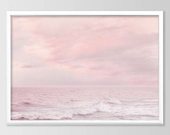 Seascape Print, Sunset Beach Print, Calming Decor Art, Ocean Coastal Printable Art, Pink Decor Art