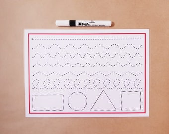 Tracing Mat,  pen control, drawing shapes, formation mat, Wipe Clean A4 mat, pre school, EYFS, Early Learning, Writing practise