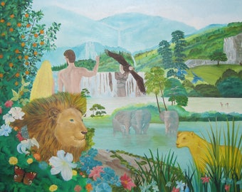 Picture on canvas Oil Paintings Adam and Eva Garden of Eden Very beautiful picture