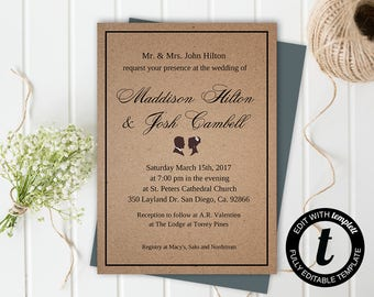Wedding Invitation,wedding invitation template,wedding template,rustic,editable, kraft paper,5x7 template,you edit,DIY
