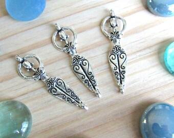 Goddess Pendant, set of 5, Silver goddess connector, sacred charms, tribal charms, pagan charms, religious charms, jewelry supplies