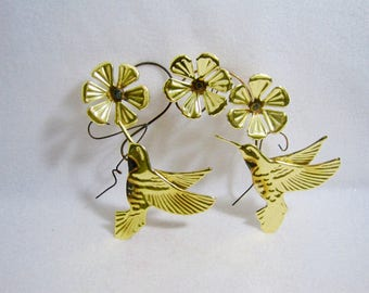 HOMCO/Home Interiors Set of 2  Metal Gold Tone Flower & Hummingbirds  Wall Hangings