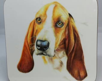 Basset Hound Dog Coaster, Basset Hound Illustration, Pet Illustration, Dog Illustration,  Hard Board Coaster, 9cm x 9cm Square