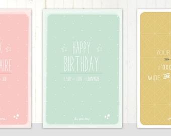 3 Scandinavian style birthday cards