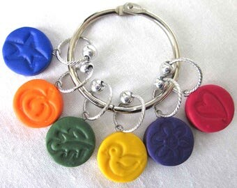 Stitch Markers, Rainbow  colors, embossed polyer clay