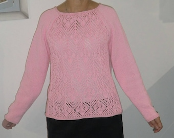 SWEATER KNIT HAND SIZE M PATTERNED BUTTONS BACK ROMANTIC - SPRING BY DROPS BLUE BUTTON