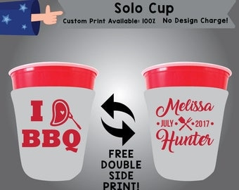 I Love BBQ SOLOS Solo Cup Cooler Bachelorette Double Side Print (SOLOS-BBQ01)
