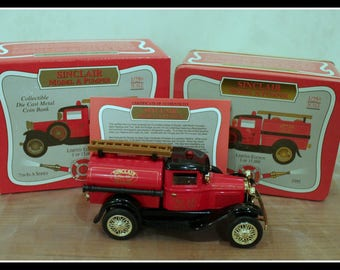 Vintage Sinclair Model A Fire Pumper Collectible Die Cast Metal Limited Edition Coin Bank, 1/25th Scale Model, Brand New Original Box