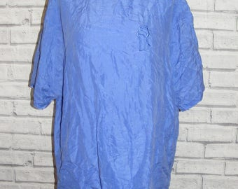Plus size 18 vintage 80s s/slv embroidered button back blouse blue silk (HY34)