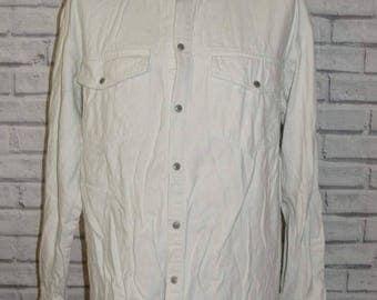 "Size XL 47"" vintage 80s long sleeve western popper shirt white denim (IB52)"