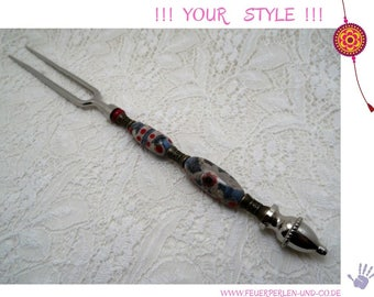 MEAT FORK with glass bead handle !lampwork! individual handmade