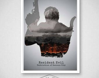 ON SALE Resident Evil - Destruction of Raccoon City Video Game Poster, Chris Redfield Print