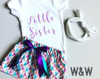 Little Sister Big Sister Outfits, Big Sis Little Sis Outfits, Purple and Teal Matching Outfits, Sisters Matching Outfits, Geometric Print