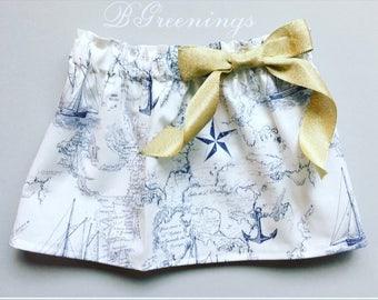 Map print skirt, compass skirt, adventure skirt, navy blue and gold skirt, map print skirt, Navy Blue traveler skirt, Baby toddler girl's