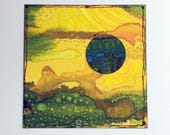 "Miniature Collaged Art Card. ""Inner Space 4"" . Original Abstract Art Card"