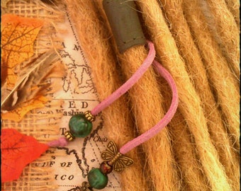VEGAN - S/M - Unique hand crafted, up-cycled genuine leather dread/hair cuff/bead with beaded tails S/M