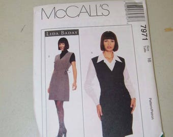 McCalls Lida Baday Wrap Jumper Blouse Pattern 7971 Ladies Size 16 13325