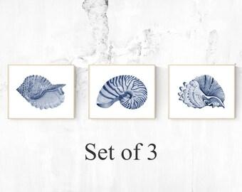 SET OF THREE (3) Dark Blue Art - Three Shells, Printable Digital Download images, Sea Theme, Ocean Theme, Home Decor, Wall Art, Blue Art