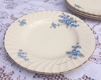 ON SALE!! Blue, floral, Burleigh Ware cake plates, set of 4
