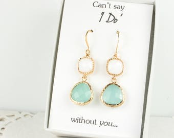Long Mint and White Gold Earrings, Gold Mint Earrings, Mint Green Earrings, Bridesmaid Jewelry, Green Wedding Jewelry, Bridesmaid Gift