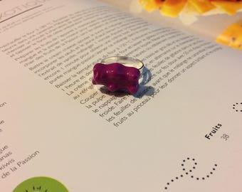 Little purple bear with polymer clay ring