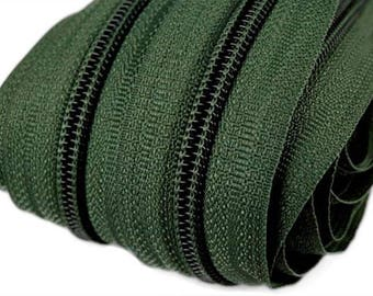 6m of endless zipper 5mm with 15 zippers and ends 273 dark green
