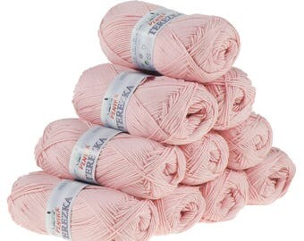10 x 50 g knitting wool TEREZKA 100% cotton, pink #102