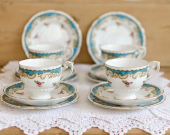 Floral China Tea Cup Set, Roslyn bone china, teacup set, vintage china teacups, floral teacups