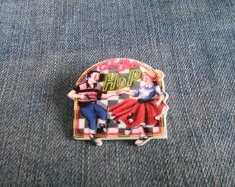 Handmade Rock n Roll At The Hop Jivers American Diner 1950s Shrink Plastic Pin Badge