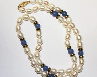 Blue Quartz Freshwater Pearls Necklace 18 Inches SKU BQ18MOVSGY