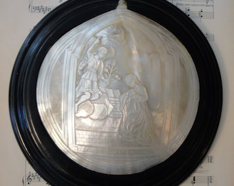 Rare Antique Italian Carved Mother of Pearl Shell Annunciation Angel Gabriel Wall Piece c1880