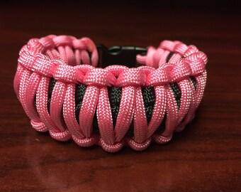 Pink and Black King Cobra Paracord Bracelet