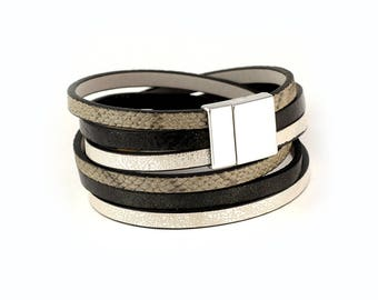 Double wrap leather bracelet, Gray, black and silver bracelet, Woman bracelet with magnetic clasp, silver cuff bracelet, gift for her