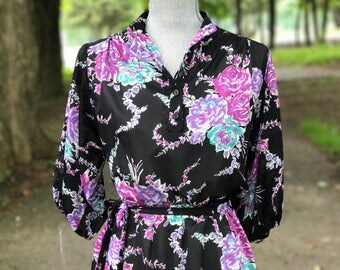 1970s Black floral chiffon dress