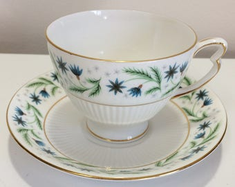 Vintage Colclough English Tea Cup and Saucer ribbed Small Blue Flowers