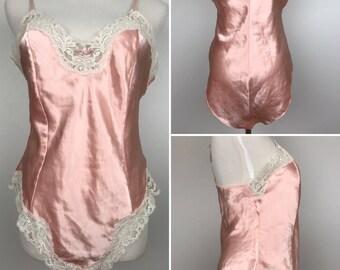 Vintage Victoria's Secret Pink High-Sheen Teddy Size 14 | '90s Lingerie Romper