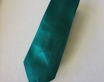 Retro Slimline Green With White Spots Givenchy Polyester Mens Necktie