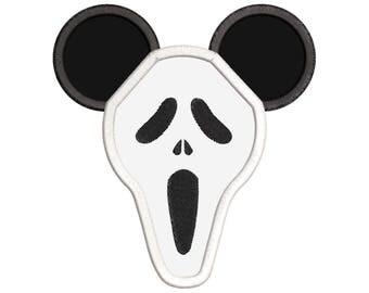 Scary Mickey Ears Applique Design - Mickey embroidery design - Disney embroidery design - Mickey Applique Design