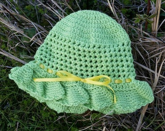 Baby Sunhat in Green and Yellow