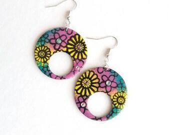 Flower power hippie chic earrings, earrings, hand made earrings, earrings