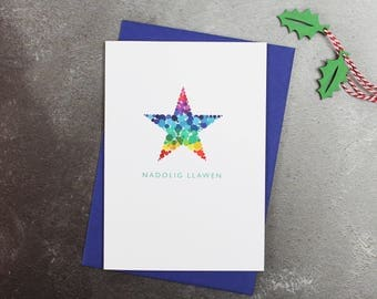 Nadolig Llawen Star | Welsh Christmas Cards | Merry Christmas | Cymraeg | Pack of Christmas Cards
