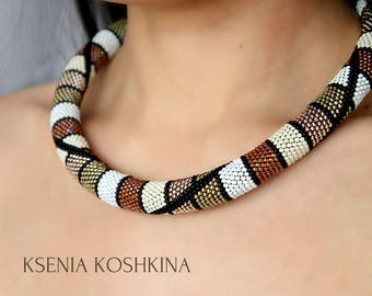 """Tourniquet From JAPANESE SEED BEADS """"Coffee"""""""