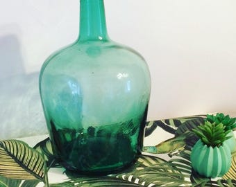 Dame Jeanne green turquoise blown glass. V.Ayelense. 1920 s. french Vintage. Bottle. Green glass. Blowned glass. Home decor
