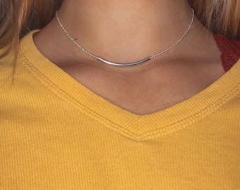 Simple Silver Tube Collarbone Choker